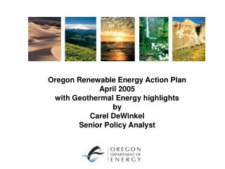 Oregon Renewable Energy Action Plan