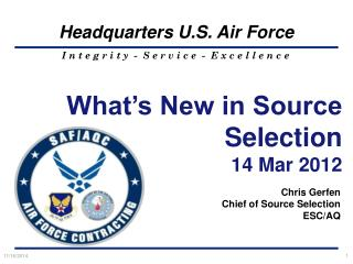 What's New in  Source  Selection  14 Mar 2012