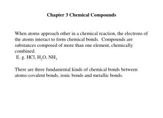 Chapter 3 Chemical Compounds