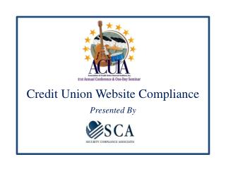 Credit Union Website Compliance Presented By