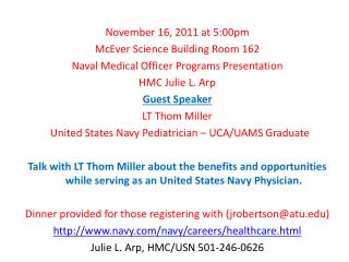 November 16, 2011 at 5:00pm McEver Science Building Room 162