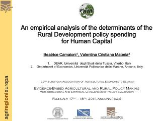 An empirical analysis of the determinants of the Rural Development policy spending