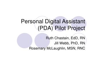 Personal Digital Assistant (PDA) Pilot Project