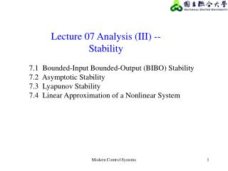 Lecture 07 Analysis (III) --   Stability