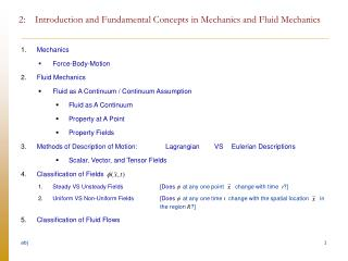 2:    Introduction and Fundamental Concepts in Mechanics and Fluid Mechanics