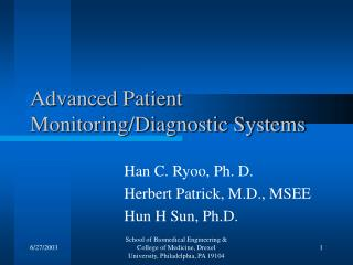 Advanced Patient Monitoring/Diagnostic Systems
