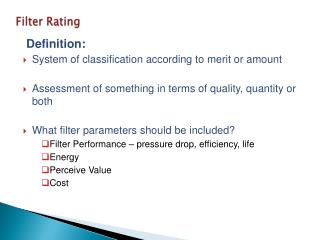 Filter Rating