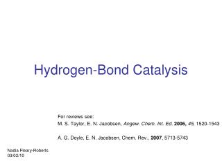 Hydrogen-Bond Catalysis