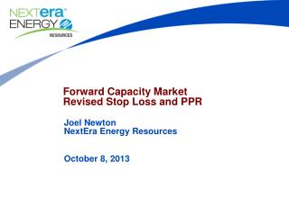 Forward Capacity Market Revised Stop Loss and PPR