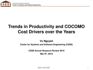 Trends in Productivity and COCOMO Cost Drivers over the Years