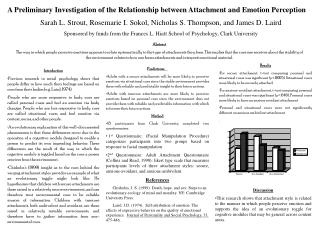 A Preliminary Investigation of the Relationship between Attachment and Emotion Perception