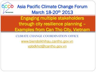 CLIMATE CHANGE COORDINATION OFFICE biendoikhihauntho.vn vpbdkhct@cantho.vn