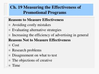 Ch. 19 Measuring the Effectiveness of              Promotional Programs
