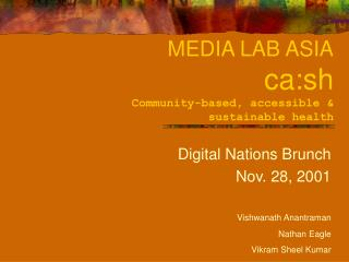 MEDIA LAB ASIA ca:sh Community-based, accessible &  sustainable health