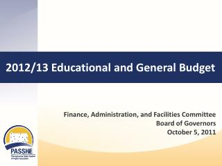 2012/13 Educational and General Budget