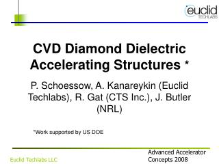 CVD Diamond Dielectric Accelerating Structures  *