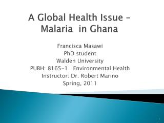 A Global Health Issue   Malaria  in Ghana