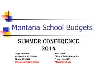 Montana School Budgets