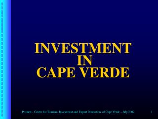 INVESTMENT   IN  CAPE VERDE