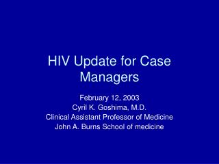 HIV Update for Case Managers