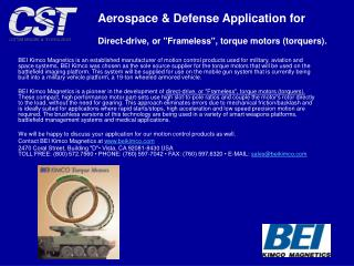 Aerospace & Defense Application for Direct-drive, or