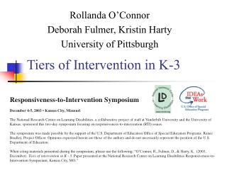 Tiers of Intervention in K-3