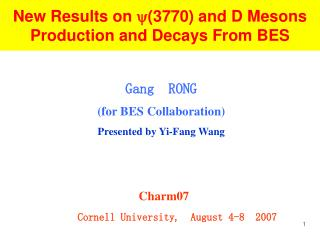 New Results on  (3770) and D Mesons Production and Decays From BES
