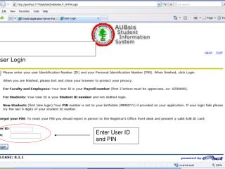 Enter User ID and PIN