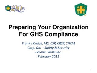 Preparing Your Organization For GHS Compliance