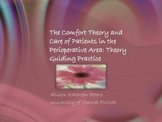 The Comfort Theory and Care of Patients in the Perioperative Area: Theory Guiding Practice