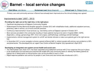 Barnet – local service changes