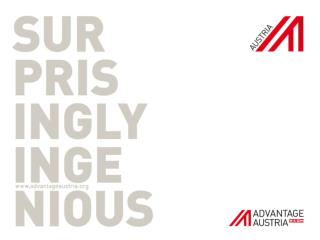 ADVANTAGE AUSTRIA Austria�s Internationalisation  Agency