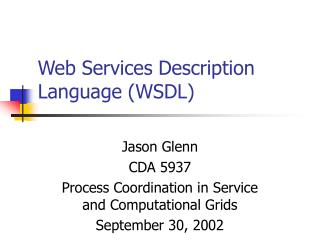 Web Services Description Language WSDL