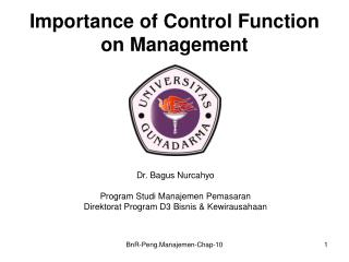 Importance of Control Function on Management