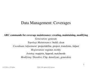 Data Management: Coverages