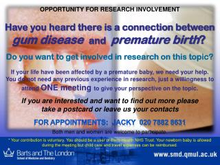 OPPORTUNITY  FOR RESEARCH INVOLVEMENT
