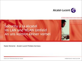 Hauke Heinecke – Alcatel-Lucent PreSales Germany