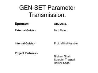 GEN-SET Parameter Transmission.