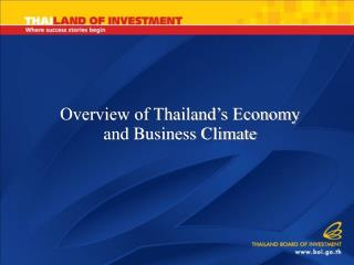 Overview of Thailand's Economy and Business Climate