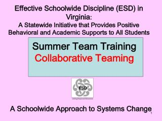 Effective Schoolwide Discipline (ESD) in Virginia :