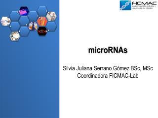 microRNAs Silvia Juliana Serrano Gómez  BSc ,  MSc Coordinadora FICMAC- Lab