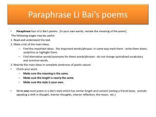 Paraphrase Li  Bai's  poems