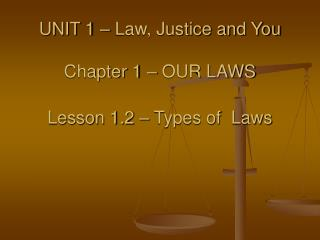 UNIT 1 – Law, Justice and You Chapter 1 – OUR LAWS Lesson 1.2 – Types of  Laws