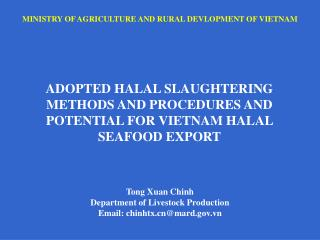 MINISTRY OF AGRICULTURE AND RURAL DEVLOPMENT OF VIETNAM