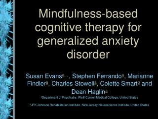 Mindfulness-based cognitive therapy for generalized anxiety disorder