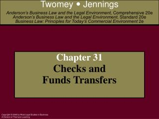 Chapter 31 Checks and Funds Transfers