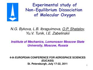 Experimental study of  Non-Equilibrium Dissociation  of Molecular Oxygen