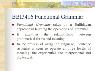 BBI3416 Functional Grammar