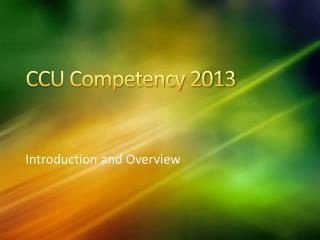 CCU Competency 2013