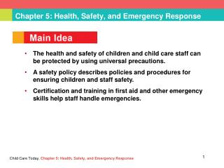 Chapter 5: Health, Safety, and Emergency Response